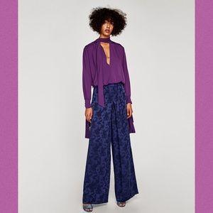 🆕 Zara Woman Wide-Leg Jacquard Trousers